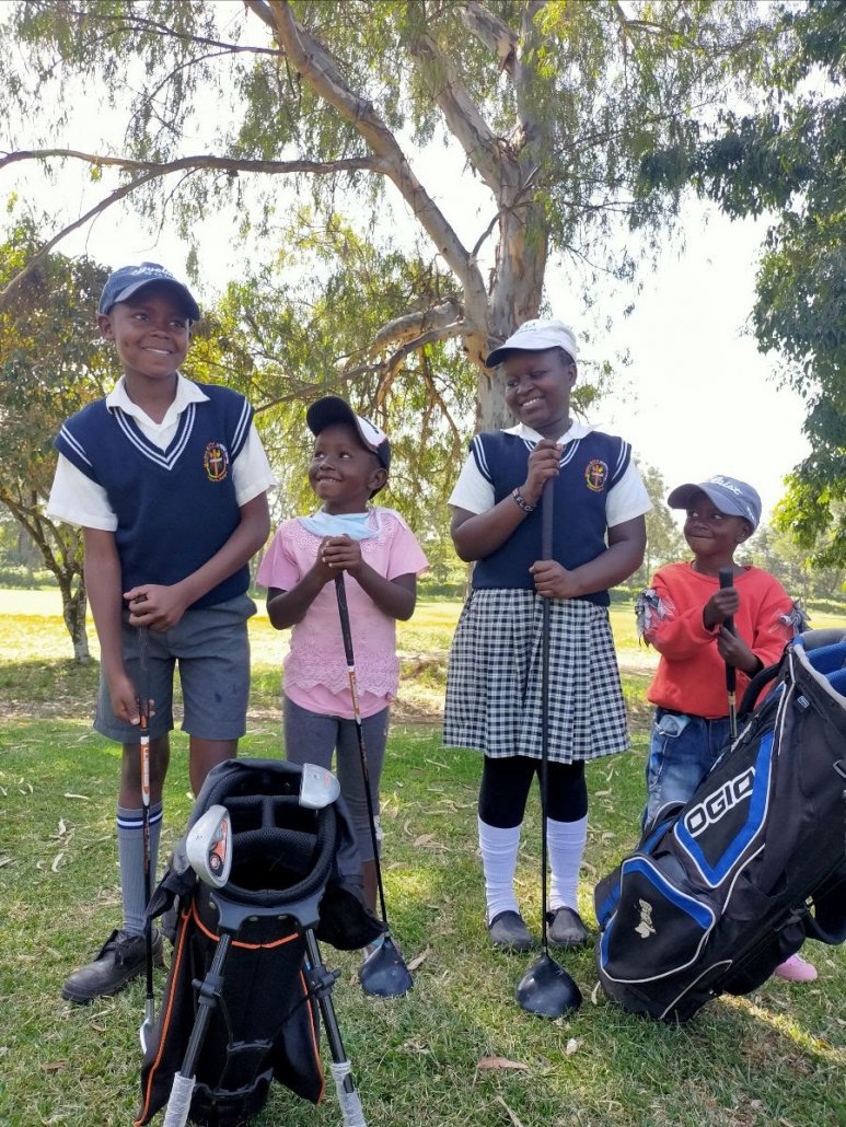 Kenya children at golf course